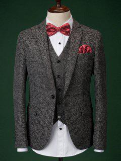 Men's Formal Houndstooth Blazer + Vest + Pants With Bow Tie And Scarves - Deep Gray M