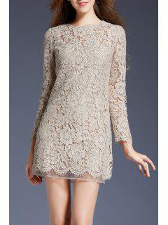 Mini Lace Long Sleeve Dress - Apricot S