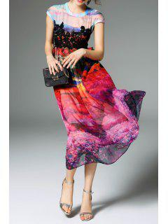 Printed Silk Dress With Contrast Lace - L