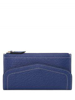 Stitching Zip Solid Color Wallet - Sapphire Blue