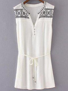 Bordado Del Vestido Blanco Con Cinturón - Blanco S
