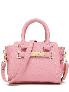 Metal Stitching Solid Color Tote Bag - Pink