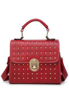 Rivet Stitching Hasp Tote Bag - Wine Red