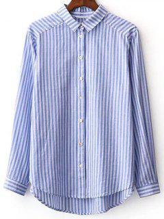 Rayé à Manches Longues Boyfriend Shirt - Bleu Et Blanc L