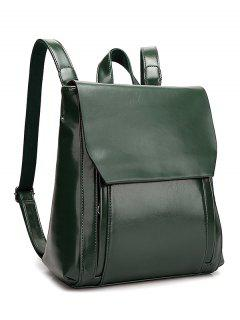 Solid Color Double Zips Backpack - Blackish Green