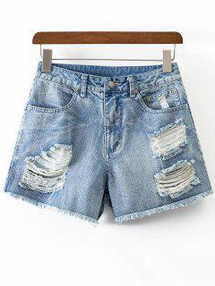 Ripped Rough Selvedge Denim Shorts - Ice Blue S
