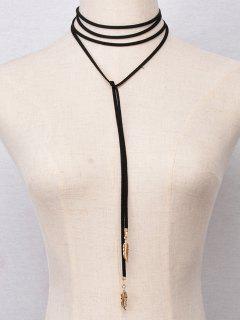 Faux Feather Wrap Choker Necklace - Black