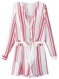 Recortada Camiseta Con Cuello En V Y Pantalones Cortos De Rayas Twinset - Rojo Con Blanco S
