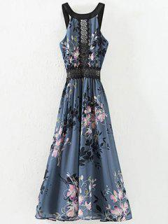 High Waisted Round Neck Floral Print Dress - Blue Gray S