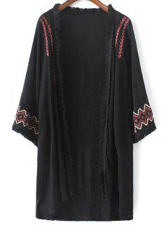 High Low Hem Embroidery Long Cardigan - Black