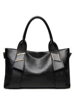 PU Leather Solid Colour Metallic Tote Bag - Black