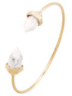 Faux Turquoise Arrowhead Cuff Bracelet - Or Et Blanc