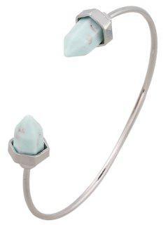 Faux Turquoise Arrowhead Cuff Bracelet - Silver