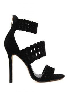 Hollow Out Ankle Strap Stiletto Heel Sandals - Black 36