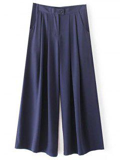 Solid Color High Waisted Culotte Pants - Cadetblue M