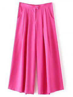 Pantalones De Talle Alto Color Sólido Culotte - Rosa S