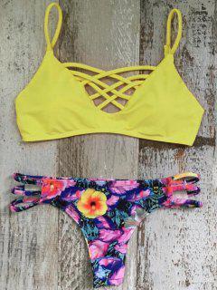 Floral Cami Gelber Bikini Set - L