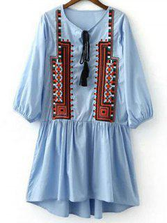 Ethnic Embroidery V Neck 3/4 Sleeves Dress - Light Blue S