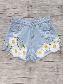 Embroidered Daisy Denim Shorts - Light Blue S