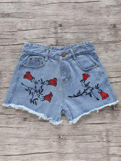 Flower Embroidery High Waisted Denim Shorts - Light Blue S