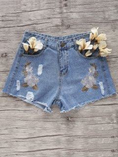 Flower Embroidery Broken Hole Denim Shorts - Light Blue S