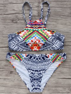 High-Neck Printed Bikini Set - S