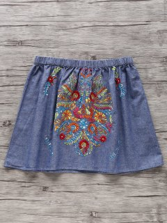Retro Embroidery Elastic Waist Mini Skirt - Light Blue S