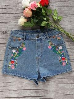 Denim Floral Embroidery Shorts - Light Blue S