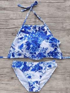 Halter Azul Y Blanco Del Bikini - Azul Y Blanco S