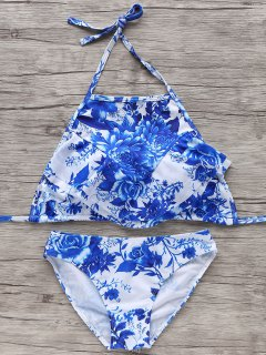 Halter Bleu Et Blanc Bikini - Bleu Et Blanc S