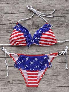 Stars Stripes Print Patriotic String Bikini Swimwear - M