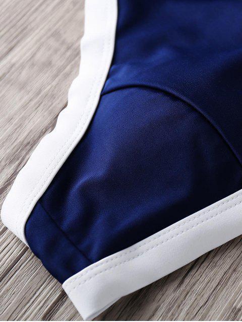 fashion Halter High Neck Bikini Set - BLUE S Mobile