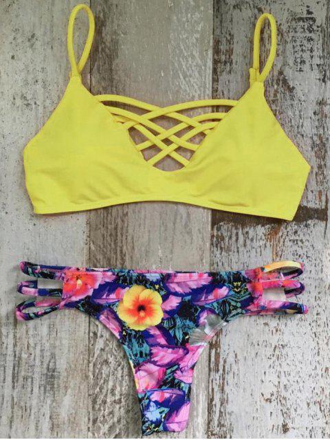 ladies Criss Cross Cami Floral Bikini Set - COLORMIX M Mobile