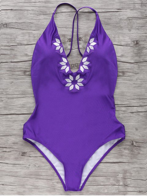 hot Embroidered Cami One Piece Swimwear - PURPLE S Mobile