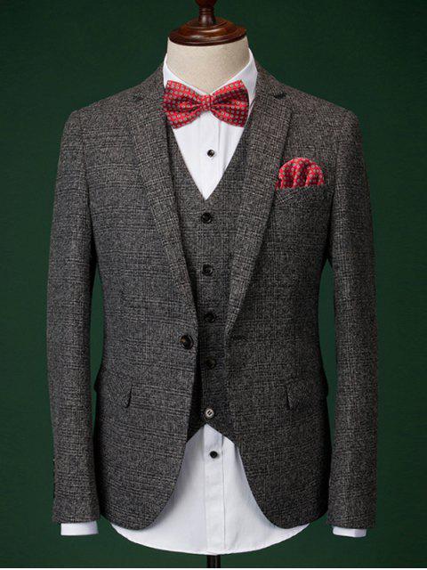 Men  's Formal Houndstooth Blazer + Vest + Pants mit Fliege und Schals - Dunkelgrau M Mobile
