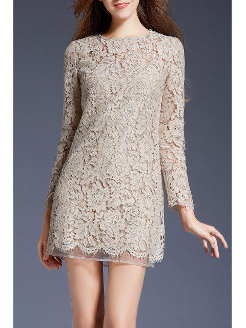 fashion Mini Lace Long Sleeve Dress - APRICOT S Mobile