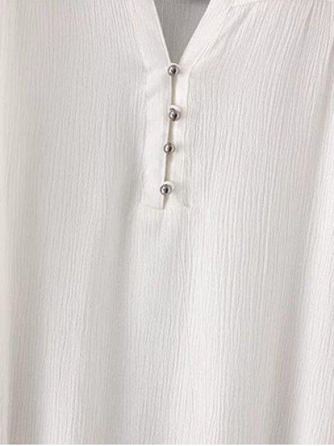 fancy Embroidered Belted White Dress - WHITE S Mobile