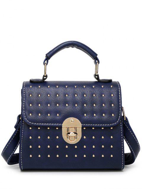 fancy Rivet Stitching Hasp Tote Bag - BLUE  Mobile