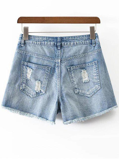 fancy Ripped Rough Selvedge Denim Shorts - ICE BLUE L Mobile