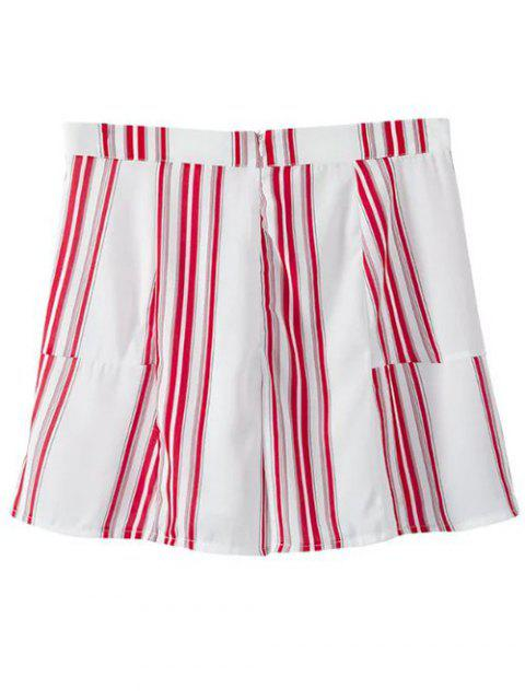 women's Cropped V-Neck Shirt and Striped Shorts Twinset - RED WITH WHITE L Mobile