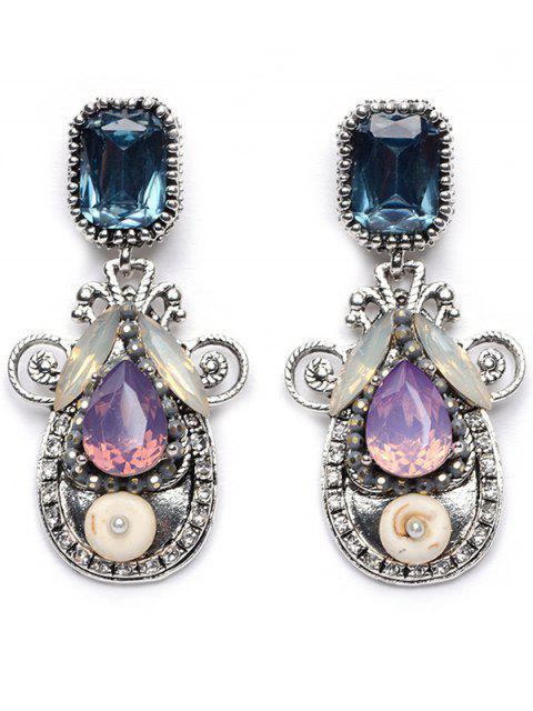 lady Rhinestone Faux Crystal Water Drop Earrings -   Mobile