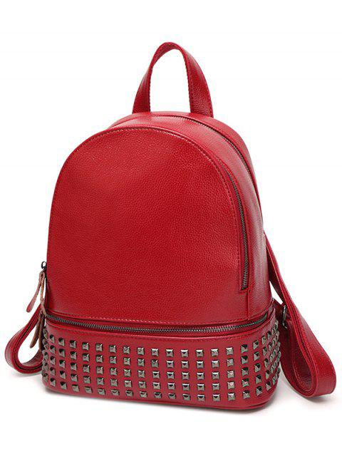 chic Rivet PU Leather Solid Color Backpack - WINE RED  Mobile