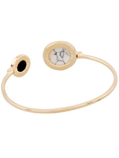 women's Stone Round Cuff Bracelet - GOLDEN  Mobile