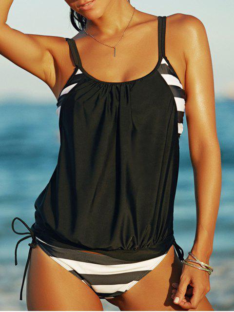 women's Striped Draped Tankini - WHITE AND BLACK XL Mobile