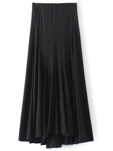 best Irregular Hem High Waisted Skirt - BLACK S Mobile