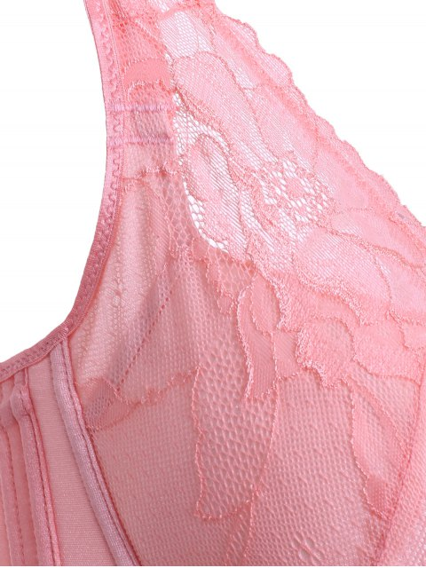 affordable Embroidery Laced Padded Bra - PEACH PINK 75C Mobile