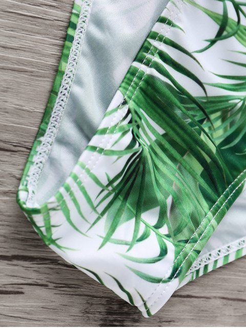 new Strappy Tropical Bikini Set - WHITE AND GREEN S Mobile