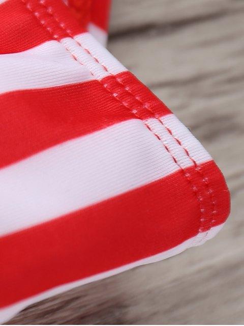 affordable Stars Stripes Print Patriotic String Bikini Swimwear - COLORMIX L Mobile
