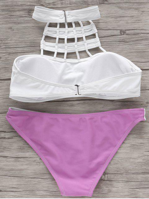 latest High Neck Color Block Bikini Set - WHITE AND PURPLE M Mobile