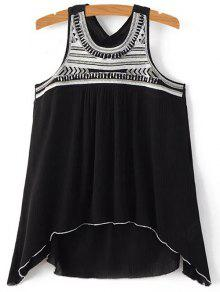 Sequined Flowy Tank Top - Black M